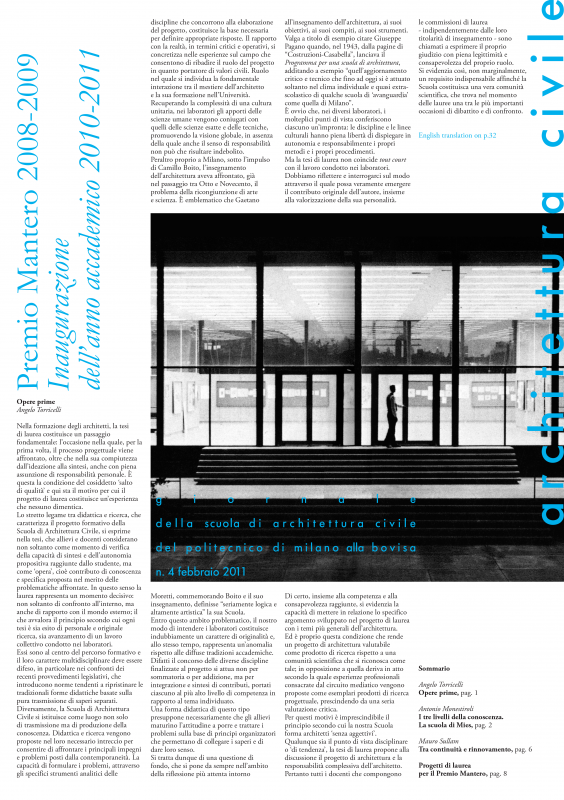 Architettura Civile. n. 4, 2011.